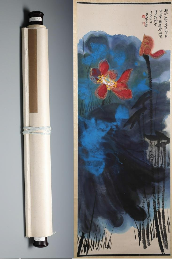 A Fine Chinese Hand-drawn Painting of Lotus Signed by
