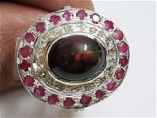 Incredible Black Fire Opal Diamond & Ruby Silver Ring