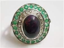 Amazing Black Opal , Diamond & Emerald Silver Ring