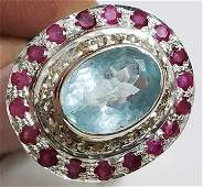 Marvelous Hand Made Aquamarine Sterling Silver Ring