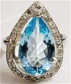 Pear Blue Topaz & Diamond Sterling Silver Ring