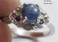 925 Sterling Silver Ring with Natural Ruby  Sapphire