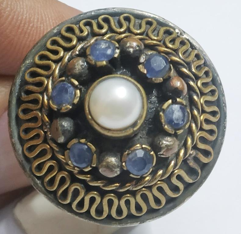 925 Sterling Silver Ring with Natural Pearl & Tanzanite