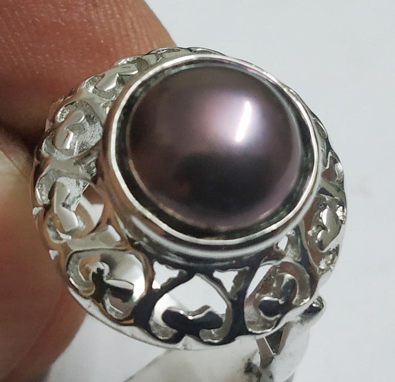 925 Sterling Silver Ring with Natural Pearl