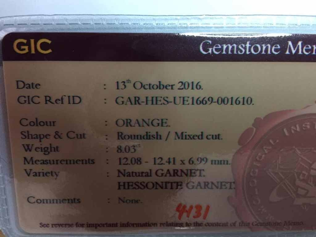 8.03 Carats Natural Garnet - 4