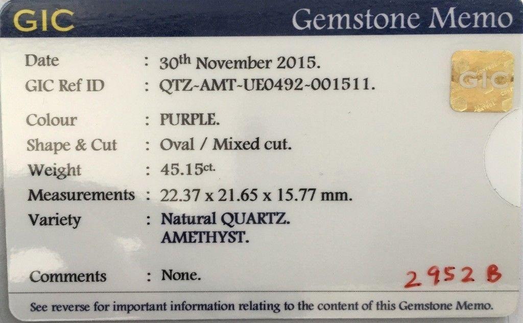 45.15 Carats Natural Unheated Quartz Amethyst - 5