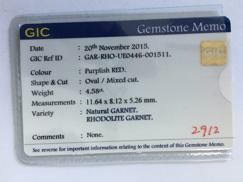 4.58 CTS Natural unheated Purplish Red Garnet - 6