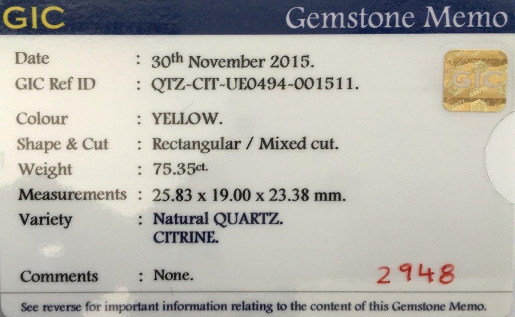 75.35 CTS  Natural Yellow quartz - 5
