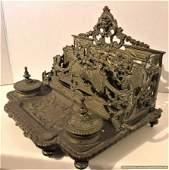 Bronze Victorian Double Inkwell Letter Holder Desk Top