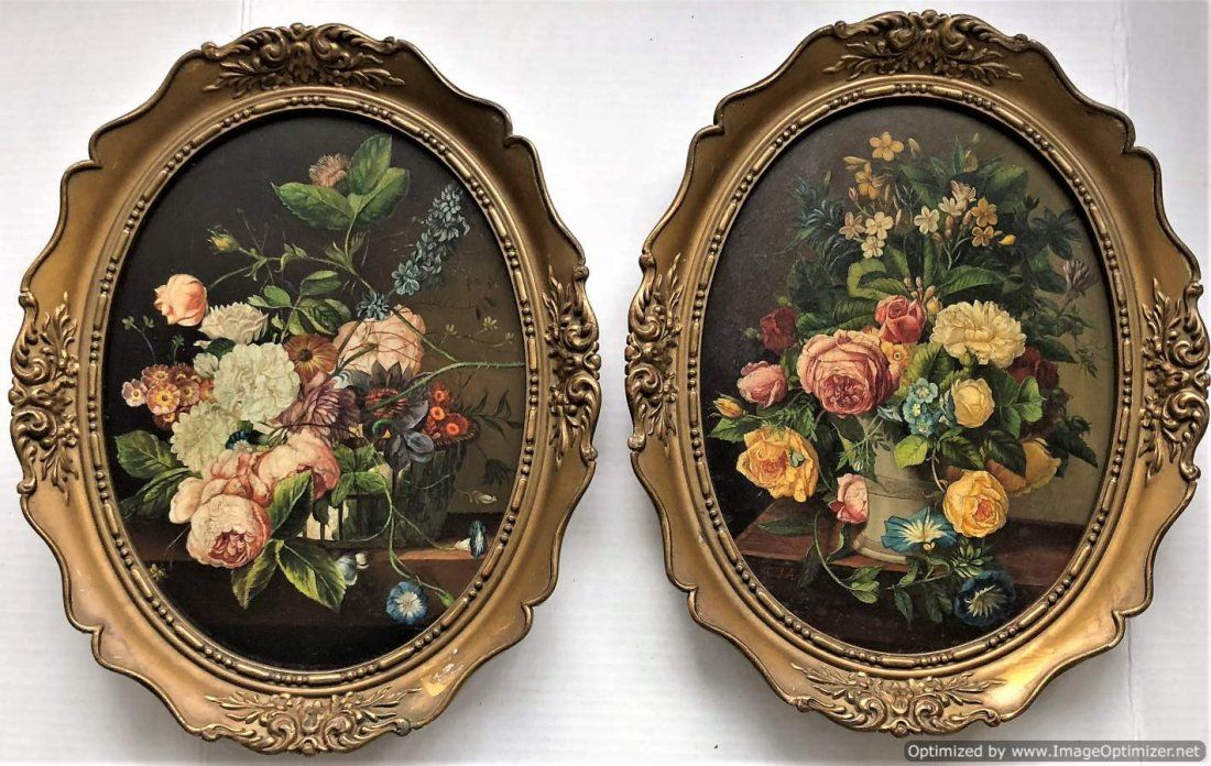 Two [2] Quality 19th C. Flemish Floral Still Life Oils