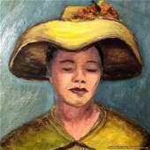Helen S Barth 1956, oil/c Woman Wearing Yellow Hat