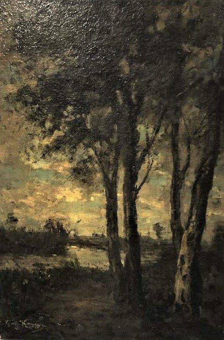 Barbizon Landscape Oil Painting Signed Illegible
