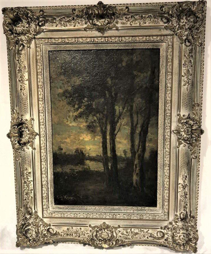 Barbizon Landscape Oil Painting Signed Illegible - 2