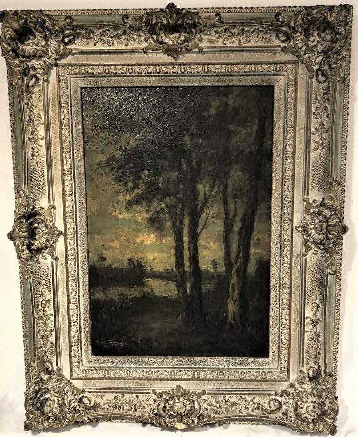 Barbizon Landscape Oil Painting Signed Illegible - 3