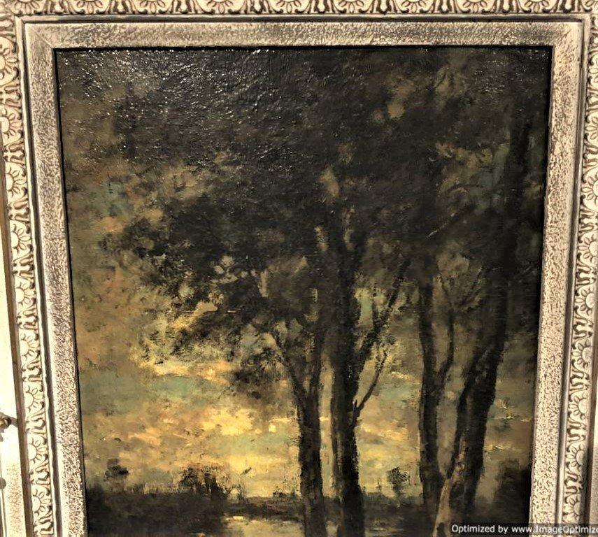 Barbizon Landscape Oil Painting Signed Illegible - 4