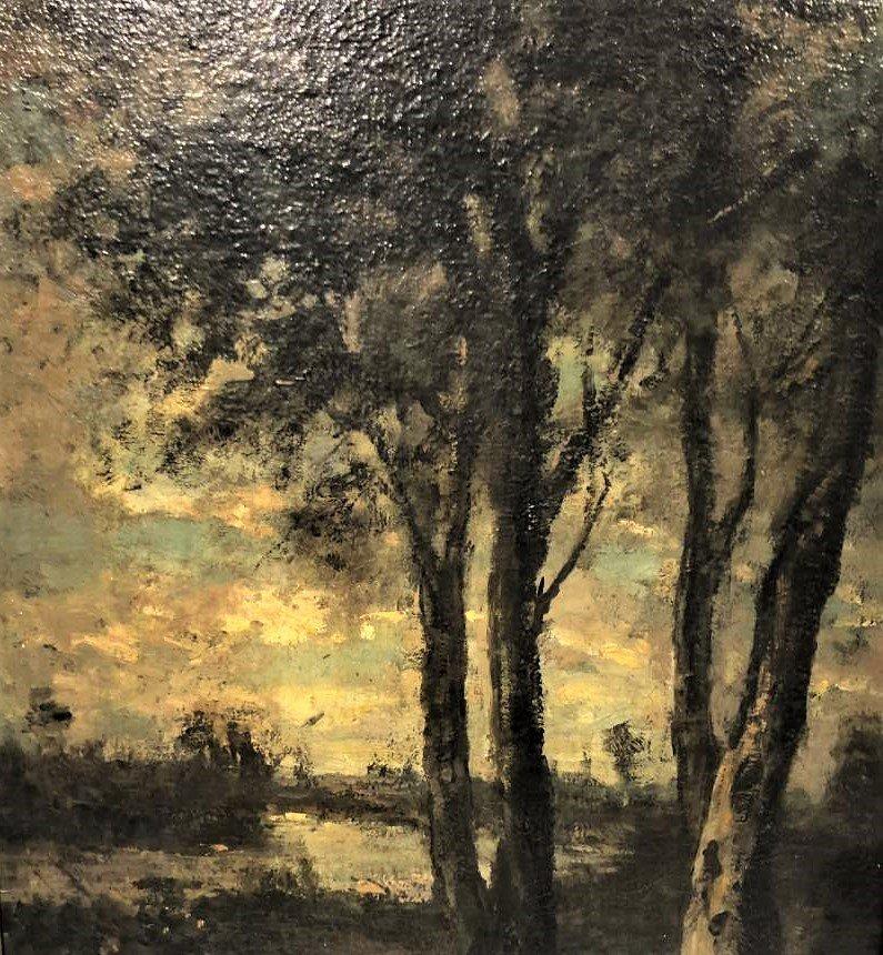 Barbizon Landscape Oil Painting Signed Illegible - 5