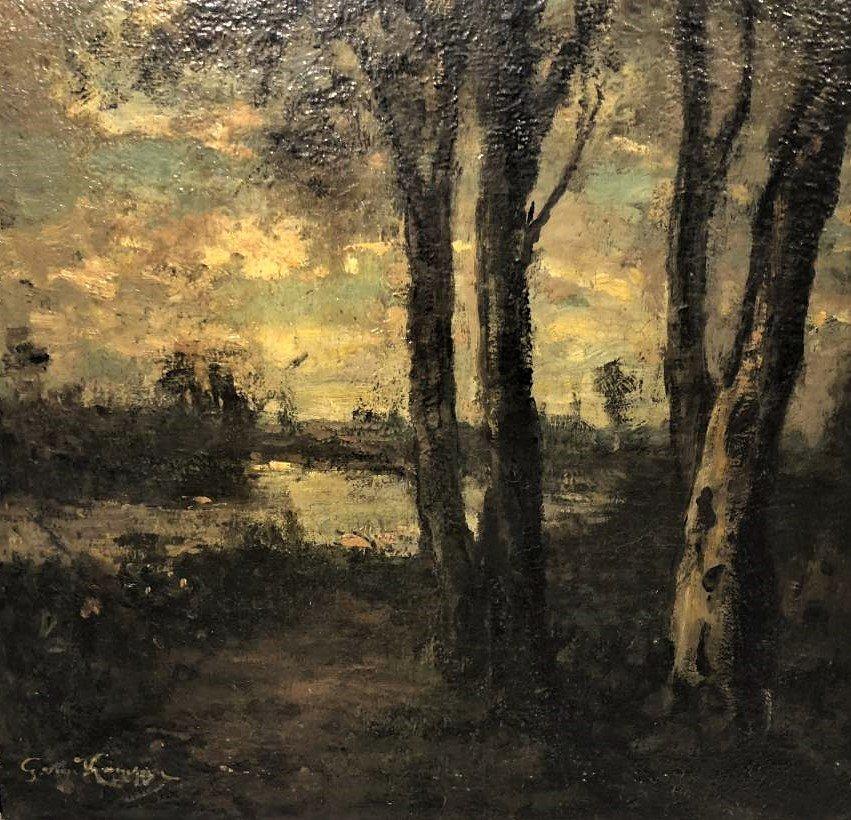 Barbizon Landscape Oil Painting Signed Illegible - 6
