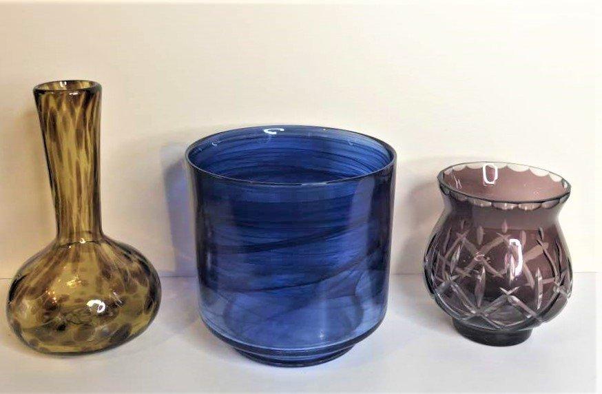 3-Pc  Art Glass, Amber Vase, Blue Bowl, Amethyst Vase