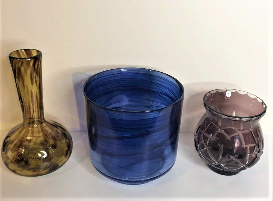 3-Pc  Art Glass, Amber Vase, Blue Bowl, Amethyst Vase - 2