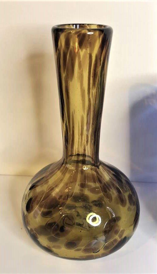 3-Pc  Art Glass, Amber Vase, Blue Bowl, Amethyst Vase - 3