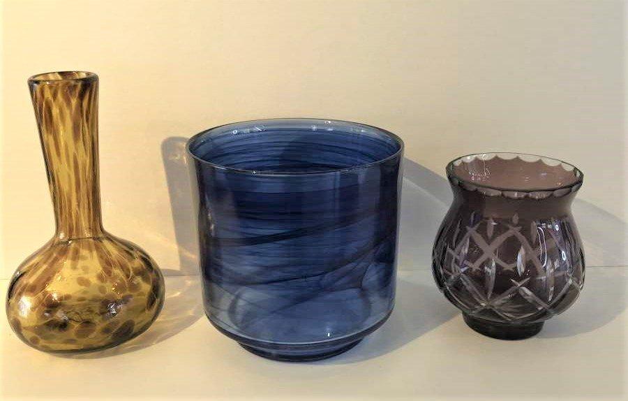 3-Pc  Art Glass, Amber Vase, Blue Bowl, Amethyst Vase - 6