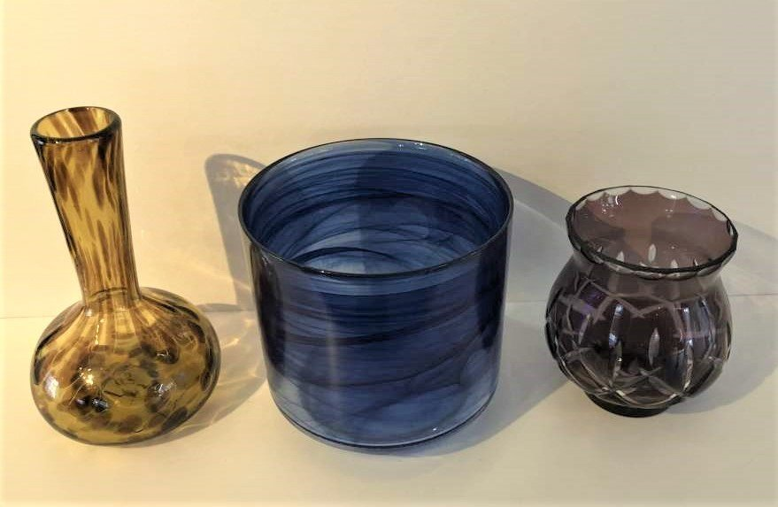 3-Pc  Art Glass, Amber Vase, Blue Bowl, Amethyst Vase - 7