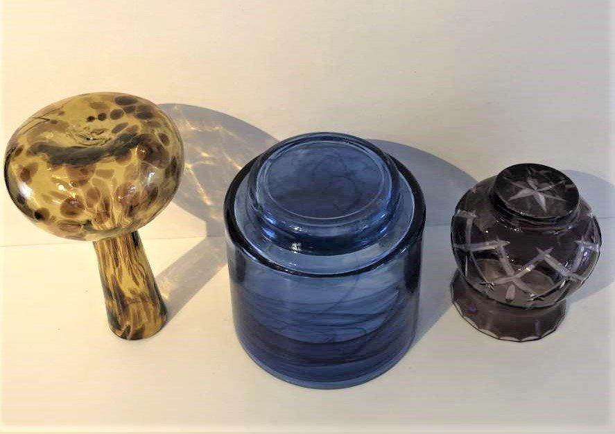 3-Pc  Art Glass, Amber Vase, Blue Bowl, Amethyst Vase - 8