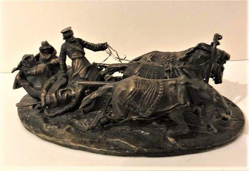 Antique 1800s Russian Bronze Signed Cossacks, Horses