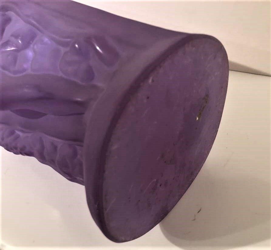 Czech Republic Bohemian Nudes Thick Amethyst Glass Vase - 10