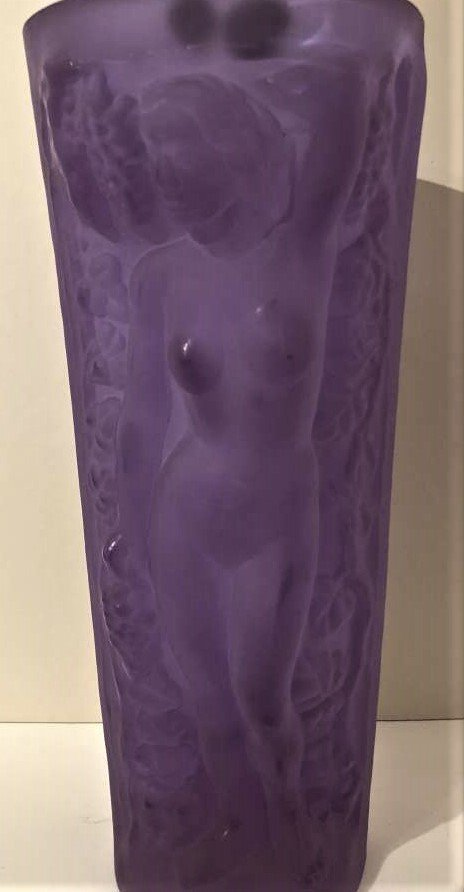 Czech Republic Bohemian Nudes Thick Amethyst Glass Vase - 4