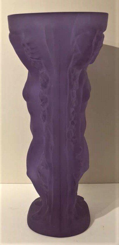 Czech Republic Bohemian Nudes Thick Amethyst Glass Vase - 5