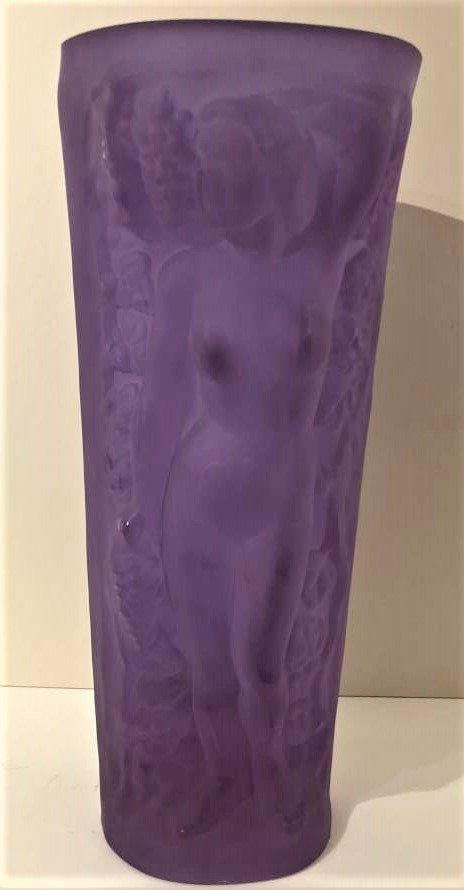 Czech Republic Bohemian Nudes Thick Amethyst Glass Vase - 6