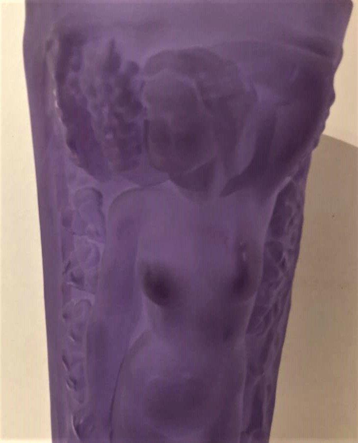 Czech Republic Bohemian Nudes Thick Amethyst Glass Vase - 7
