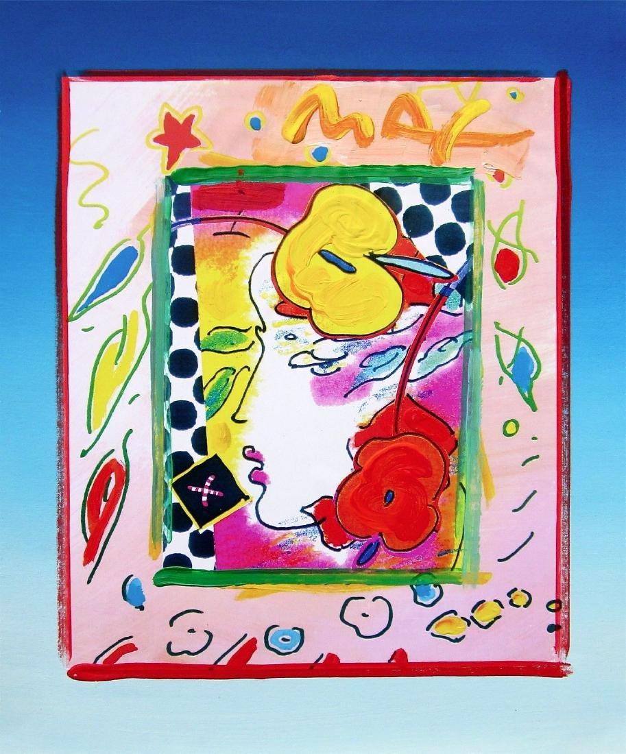 Lady Profile, Original Mixed Media Painting, Peter Max