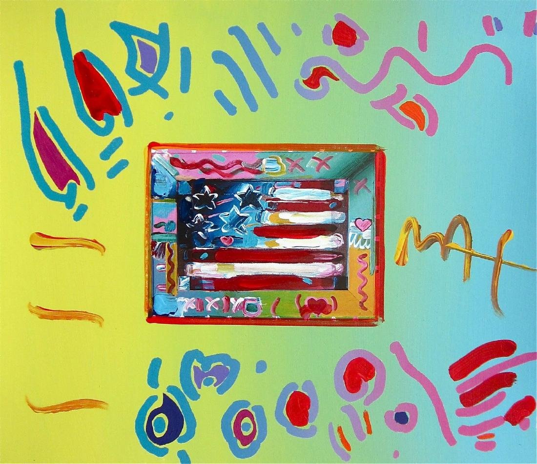 Flag, Original Mixed Media Painting, Peter Max