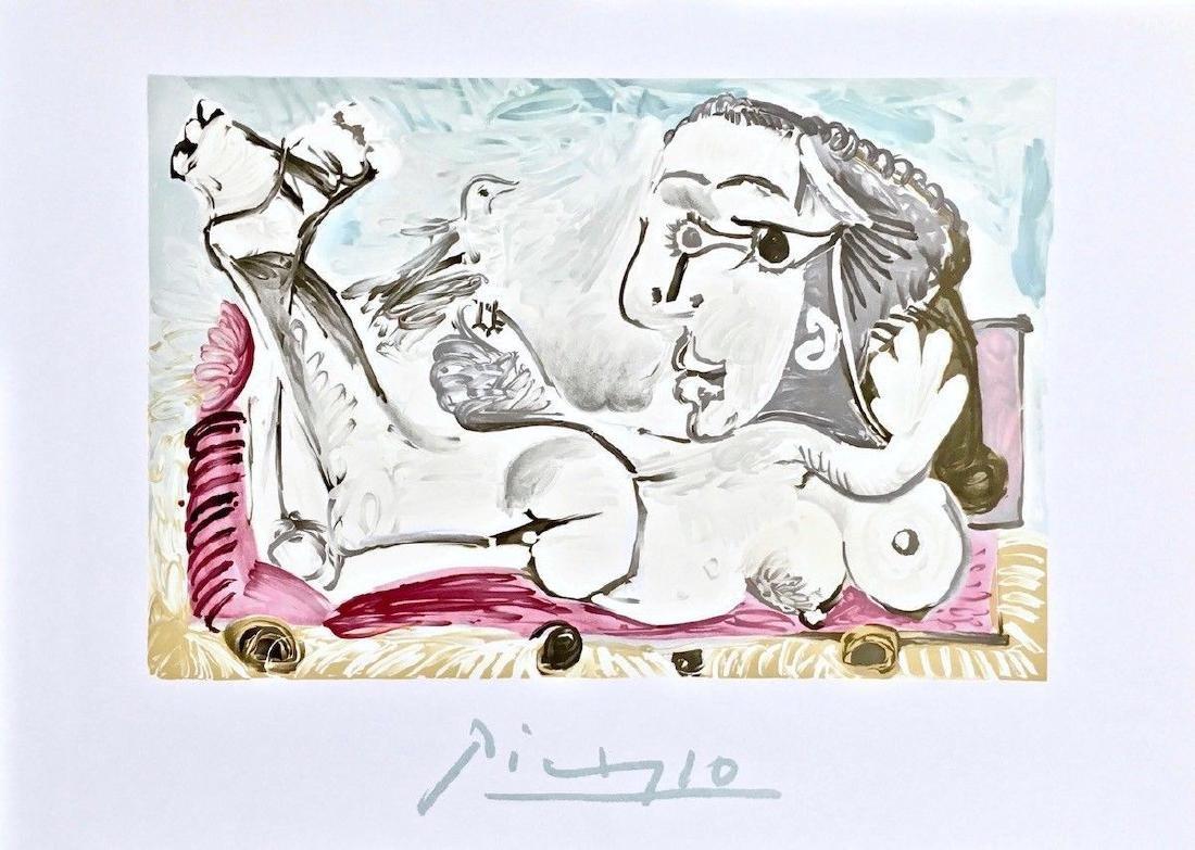 Nu Couche Loiseau, 1982 Limited Edition Lithograph,