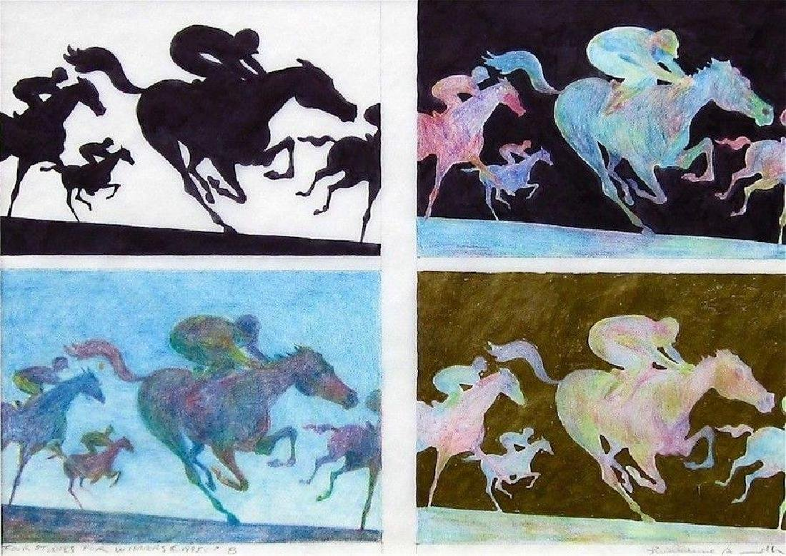 Four Studies For Winners, Original Drawing, Guillaume