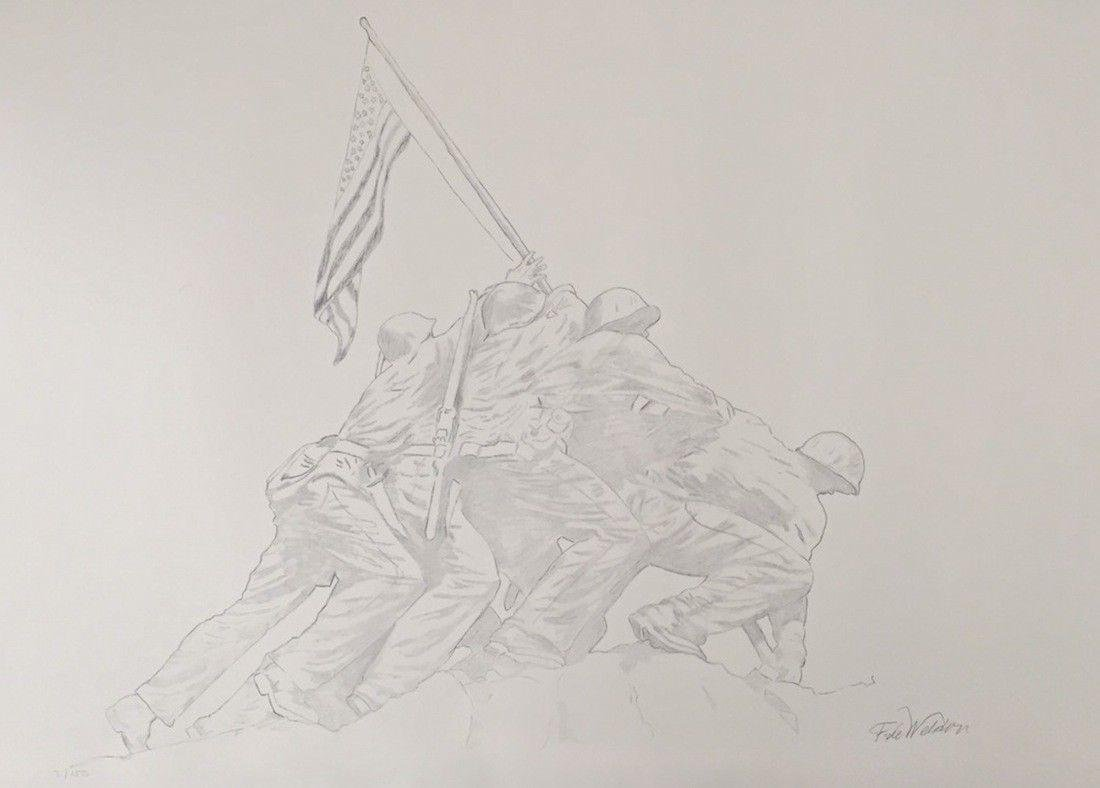 Iwo Jima Memorial, Limited Edition Litho with Graphite