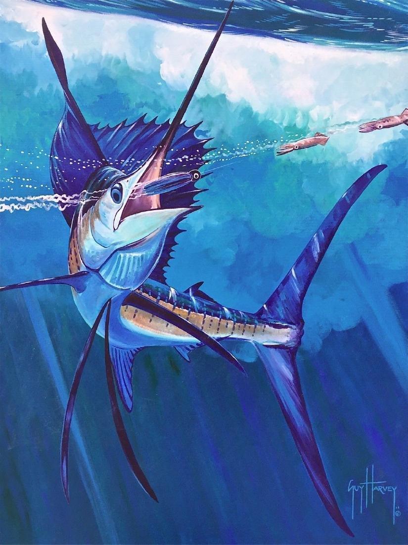 Marlin Catch, Original Acrylic Painting on Canvas, Guy