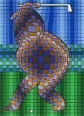Golfer (Blue & Gold), Ltd Ed Silk-screen, Victor