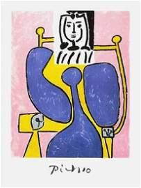 Woman & Blue Rose, Ltd Ed Lithograph, Pablo Picasso