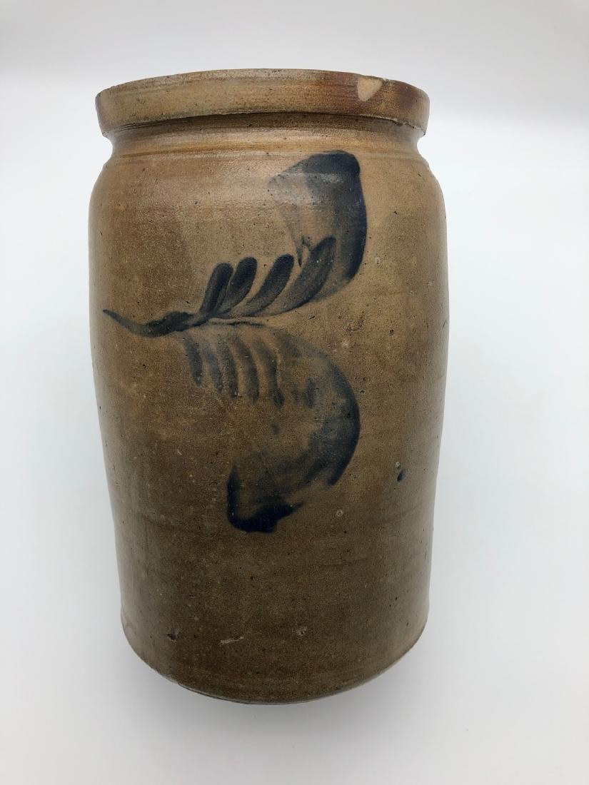 1-Gallon Stoneware Crock with Cobalt Blue Glazing