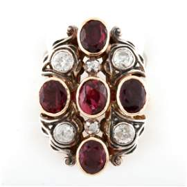 Antique 14K Yellow Gold Red Ruby and Diamond Ring with