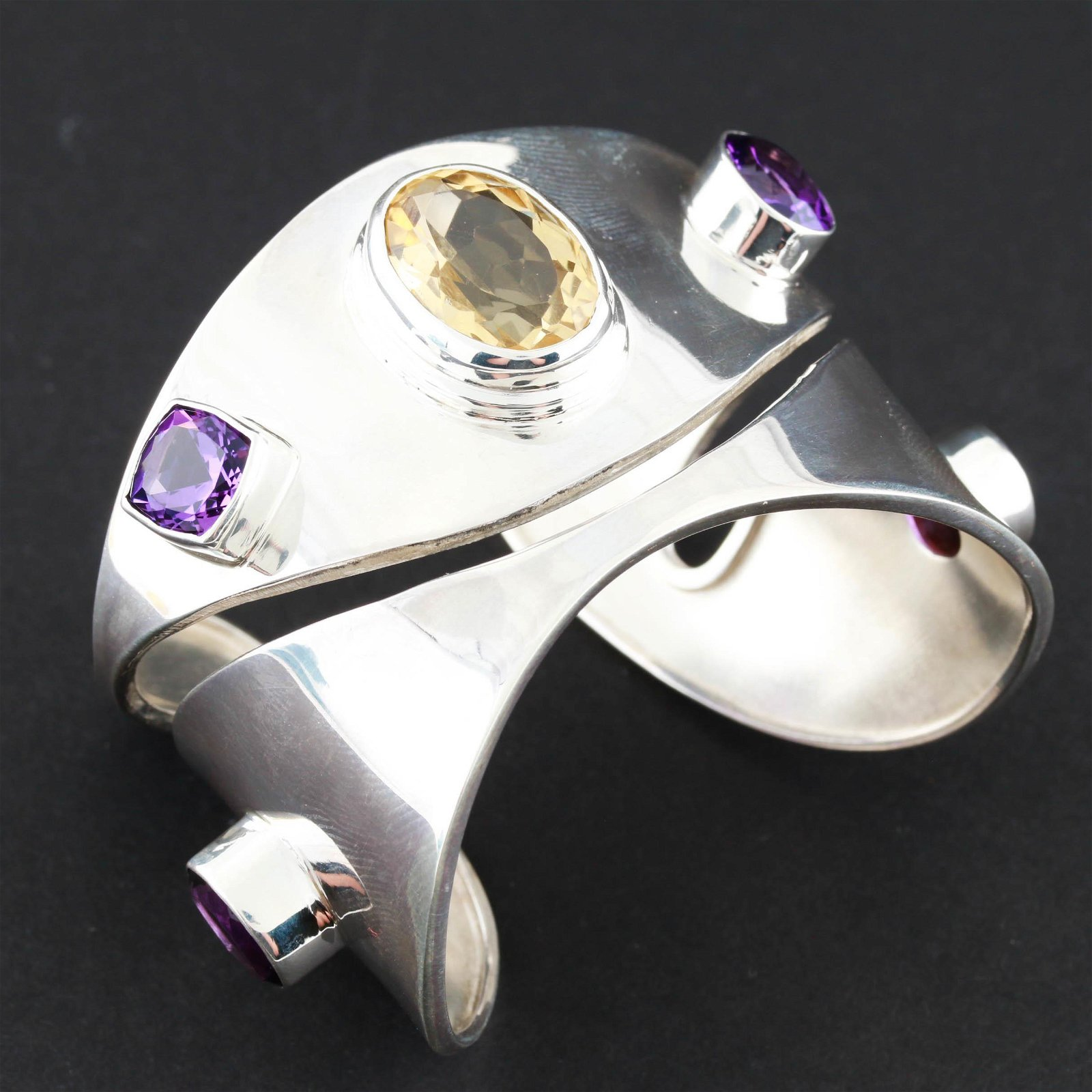 Sterling Silver Amethyst and Citrine Bangle Cuff