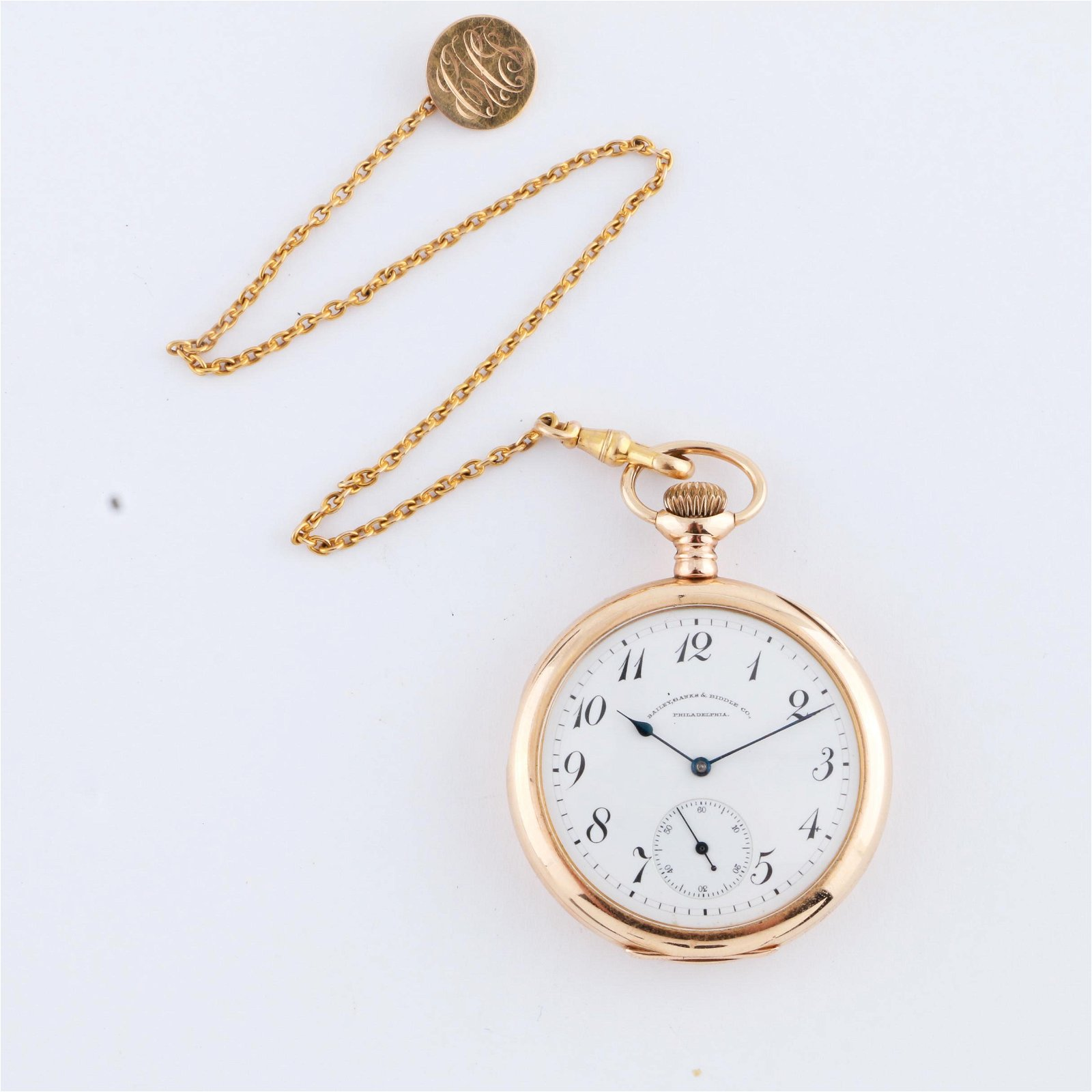 A.W.W.C. Co. 14K Yellow Gold Pocket Watch with Chain