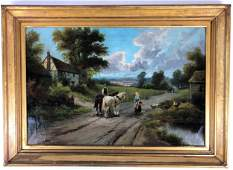 Oil on Canvas English Landscape with Figures, 19th