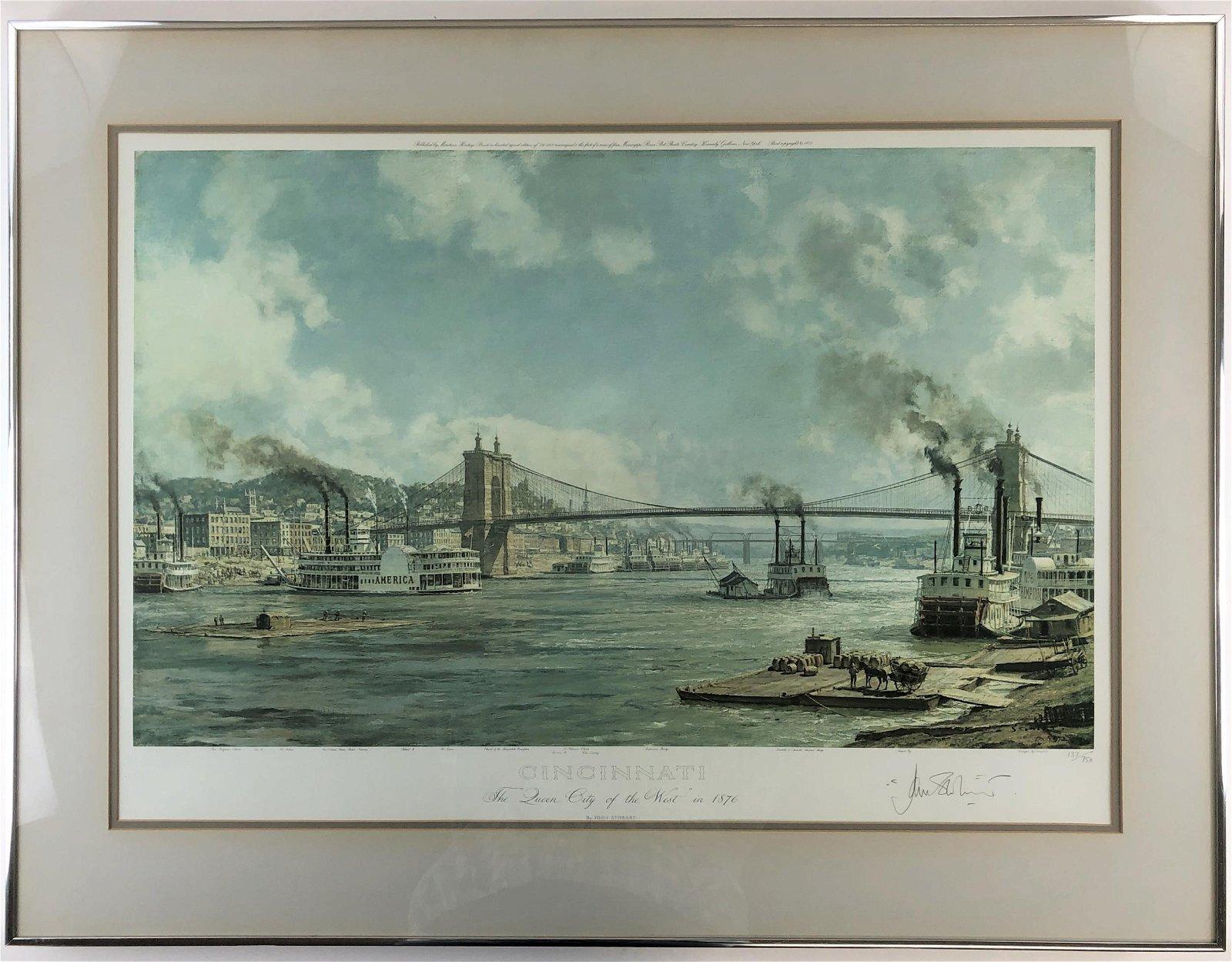 """John Stobart, Signed Print, """"Cincinnati, The 'Queen"""