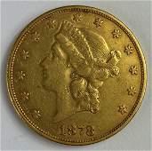 1878-S Liberty Head Twenty Dollar Gold Coin