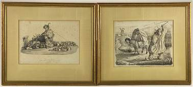Collection of Framed French Satirical Lithographs