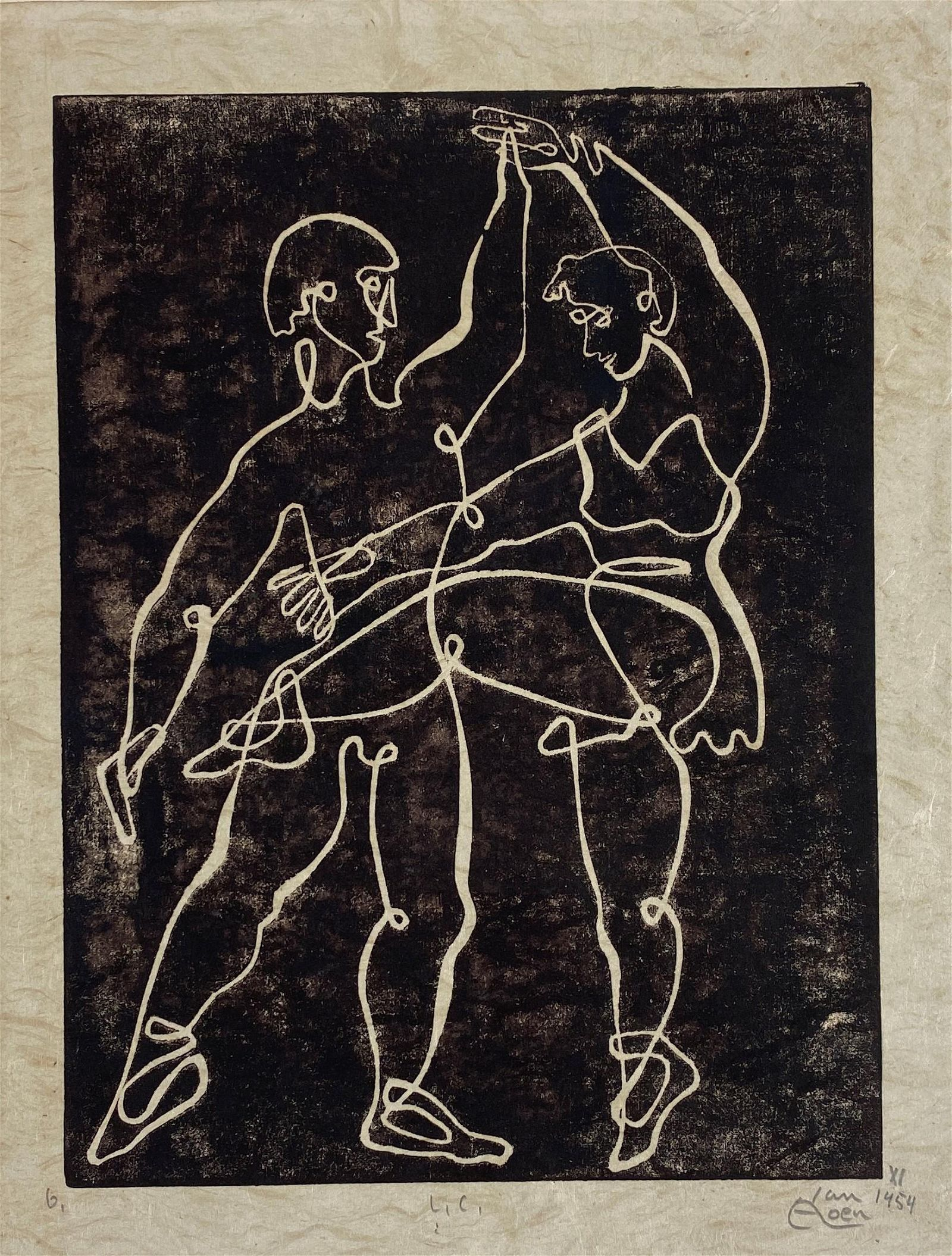 Alfred Van Loen (German, 1924-1993), Linocut